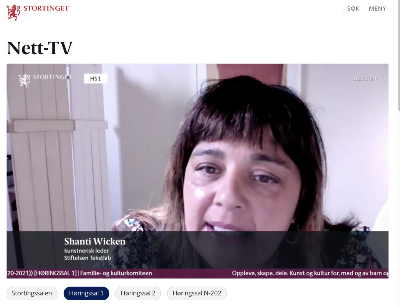 Kunstnerisk leder i TekstLab Shanti Brahmachari på høring om Barne- og ungdomskulturmelding 2021